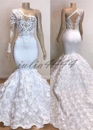 Rose Flower Images Red White Australia - 2019 White Gorgeous Rose Flowers Mermaid Prom Dresses Appliques Sheer One Shoulder Evening Gown Silver Stretchy Satin robes de soirée