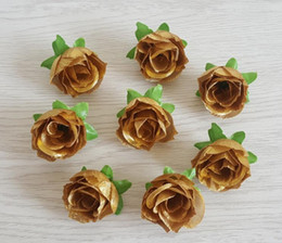 Wholesale Golden Rose Bud Simulated Rose Cross border Specialized for Silk Rose Head Wedding Decoration Flower W011