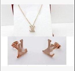 $enCountryForm.capitalKeyWord Australia - L brand Pendant Necklace Earrings Two jewellery sets good quality Rose gold titanium steel women Jewelry set never fades