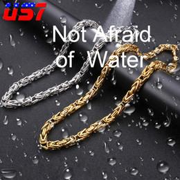 US7 24 pulgadas bizantino enlace para hombre collares cadenas collar de acero inoxidable Rolo cadenas collar para mujeres hombres 8 MM cadena de joyería en venta