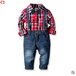 jeans kids suspenders boys 2019 - Kids Boys 4 Piece Suspenders Outfits Spring Long Sleeve Cotton Plaid Shirt Tops Jeans Pants Clothing Set Toddler Boys Ki