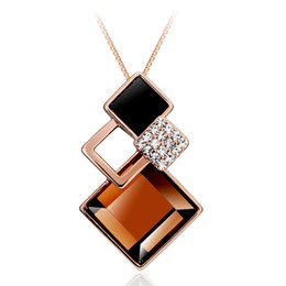 $enCountryForm.capitalKeyWord Australia - D187 Necklaces Pendant For Women Girl Fashion Long Chain Necklace Cubic Zirconia Jewelry Gift Necklaces rhombus Champagne gold