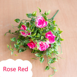 $enCountryForm.capitalKeyWord Australia - 7heads 1 Branch Artificial Plants Grass Fake Rose Floral Plastic Eucalyptus Flowers For Birthday Wedding Party Garden Decoration