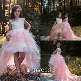 $enCountryForm.capitalKeyWord NZ - Pink High Low Flower Girls Dresses Off The Shoulder Tulle Satin Princess Wedding Birthday Party Dresses
