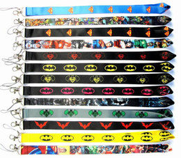 Batman keychains online shopping - New Cartoon Batman and Superman Lanyard Neck Strap Cell Phone Rope Lanyards Lanyards key chain K0025