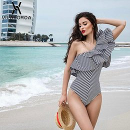 Discount one shoulder swimwear for women - 2019 Summer Clothes For Women Sexy One Piece Striped Ruffle Swimsuit Beachwear One Shoulder Swimwear Bathing Suits Bodys