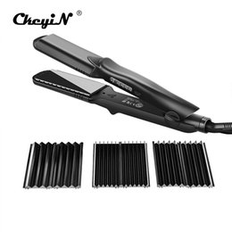 Small Straightener NZ - Interchangeable 4 in 1 Fast Hair Straightener Corn Wave Plate Electric Hair Crimper Large To Small Waver Corrugated Flat Iron 42 C19010901
