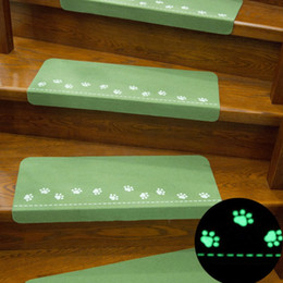 Hand Safety Cartoon Australia - Dark Glowing Home Stairs Non-slip Mats Doormat Footprint Pattern Carpet Floor Night light Mat Safety Children Carpet Home Decor