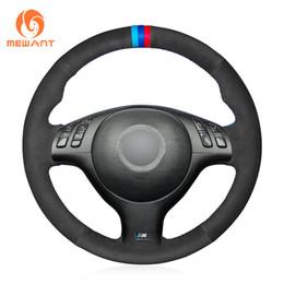 Bmw M3 Lights Australia - MEWANT Black Suede Light Blue Blue Red marker Car Steering Wheel Cover for BMW E46 E39 330i 540i 525i 530i 330Ci M3 2001-2003