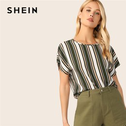 6d9826d4 SHEIN Keyhole Back Colorblock Striped Summer Blouse Womens Tops and Blouses  Casual Batwing Sleeve Round Neck Ladies Tops