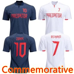 9697e9321 S-2XL TOP THAI 2019 Predator  7 David Beckham soccer Jersey white  10  ZIDANE Retro version Commemorative Edition Football shirts dark blue