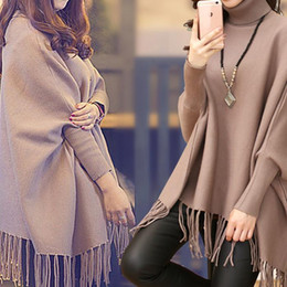 Shirt Poncho Australia - Fashion-Nice Autumn And Winter Solid Color Turtleneck Sweater Bat Shirt Large Size 4xl Fashion Pullover Sweater Fringed Poncho