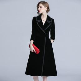 Women Velvet Clothes Australia - 2019 Spring Fashion Long Trench Coat Women Slim Elegant Woman Clothes Vintage European Black Velvet OL Windbreaker QH121