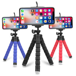 Mini flexible éponge Octopus trépied pour iPhone Samsung Xiaomi Huawei téléphone mobile Smartphone trépied pour appareil photo Gopro 8 7 5 en Solde