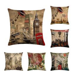 Decor stamps online shopping - wedding gift Fashion European retro floral stamp butterfly decorative hot air balloon cushion cover decor pillow case ZY356