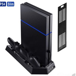 cool ps4 Canada - Vertical Stand Cooling Fan Heat Sink Charging Stand Dual USB HUB Charger Ports for PS4 Slim Playstation 4 PS4