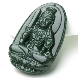 Natural Jade Pendant Buddha Australia - Fine Jewelry 100% Pure Natural Jade Hand Carving Acalanatha Bodhisattva Buddha Necklace Pendant Free Shipping