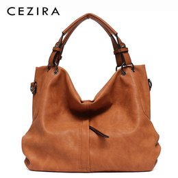 Ladies Navy Handbags Australia - Cezira Brand Large Women's Leather Handbags High Quality Female Pu Hobos Shoulder Bags Solid Pocket Ladies Solid Ladies Totes Y19051702