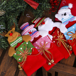 Discount hang bear bag Christmas Decorations for Home Hanging Gift Bag Bowknot with Bells Santa Clause Snowman Elk Bear Christmas Tree Pendent
