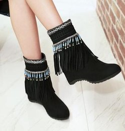 cowgirl charms Australia - New Arrival Hot Sale Specials Super Fashion Influx Cowgirl Winter Female Tassels Beads Plus Increased Suede Noble Wedge Ankle Boots EU33-43