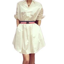 China White Shirt Dress Middle-sleeved Elegant Belted Dress For Women With Waistband Ladies Fashionable cheap lady spring dress belt suppliers