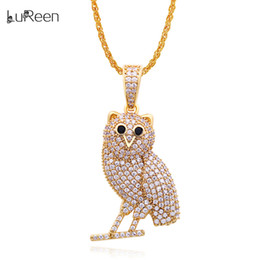 Necklaces Pendants Australia - LuReen Gold Silver Owl Iced Out Pendant Necklace Micro Pave CZ Men Women Hip Hop Pendant Jewelry Gift