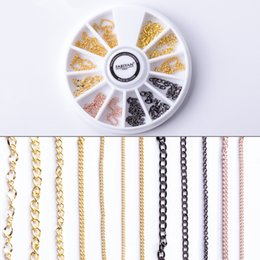 punk decoration NZ - Nail Art Wheel Chain Hollow Metal Decoration Jewelry Accessories Strip Line DIY Design Punk 3D Tips UV Gel Polish Tools Manicure
