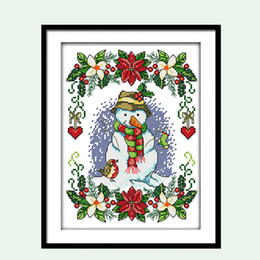 $enCountryForm.capitalKeyWord UK - Christmas Snowman Cartoon Pattern Counted Cross Stitch 11 14CT Embroidery Kits DIY Needlework DMC Small-sized Painting Gift Wall Decor