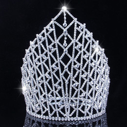 Discount celtic crowns tiaras - New Silver Color Queen luxury Crystal Rhinestone Big Tiara For Wedding Large Crown Hair Accessories For Bride Headress J