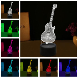 Coolest eleCtriC guitars online shopping - New Visual D Fashion Cool Bass Music Electric Guitar Color Change Night Light LED Blub Child Kids Musical Xmas Birthday Toys Decor Gifts