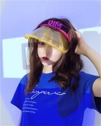 b557cf357bb Wholesale Plastic Hat Brims UK - Women Transparent Clear Unbreakable Visor  Cap Empty Topless Letter PVC