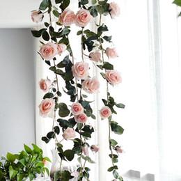 $enCountryForm.capitalKeyWord Australia - 1.8M Artificial Flower Australia Vine Silk Rose Pink White Red Flower for Wedding Decoration Artificial Vines Hanging Garland Home Decor