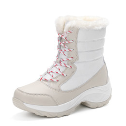 boots warm up Australia - 2017 New Women Winter Waterproof Boots Warm Fashion Winter Woman Shoes Autumn Female Thick Lace-up Ankle Boots Size 35-41