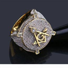 Wholesale symbols gold resale online - Luxury Hip hop Freemason Symbol Masonic Rings Mens Micro Pave Cubic Zirconia Bling Bling Simulated Diamonds K Gold Plated Ring