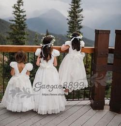 $enCountryForm.capitalKeyWord Australia - Sweety chiffon beach boho Floor-length A-line Flower Girl Dresses for wedding handmade flower white Kids Communion Dress Birthday Wear Gowns