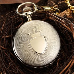 $enCountryForm.capitalKeyWord Australia - Retro Engraved Luxury Gold Quartz Pocket Watch Fob Chain Clock for Men Steampunk Roman Numerals Sliver Black Watches Drop Ship