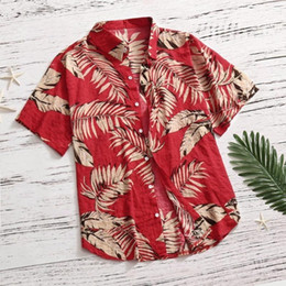 bohemian print blouse UK - Mens Shirt Summer Bohemian Geometric Leaves Printed Men's Shirt Casual Button Print Hawaii Print Beach Short Sleeve Blouse #38