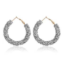 big hoop rhinestone earring Australia - 1 Pair New Design Fashion Women Charm Austrian Crystal Big Circle Hoop Earrings Round Shiny Rhinestone Glitter Earring Jewelry
