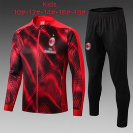 tracksuit milan UK - 19 20 New AC milan red child jacket soccer sets 2020 SUSO kids tracksuit jersey ROMAGNOL PIATEK youth long sleeve zipper training suit