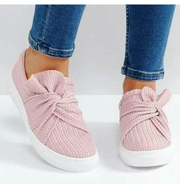 $enCountryForm.capitalKeyWord Australia - Bow Women Flat Shoes New Ladies Round Head Shallow Shoes Weaving Comfort Slip On Sneakers Running