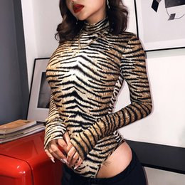 turtleneck jumpsuit long sleeve 2019 - Tiger Leopard Turtleneck Bodysuit Autumn Winter Streetwear Long Sleeve Sexy Skinny Jumpsuit Overalls for Women Body Femi