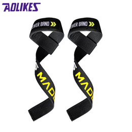 Wholesale AOLIKES Pair Weight Lifting Body Building Fitness Practice Barbell Hand Wrist Bar Support Gym Strap Train Exercise Equipment