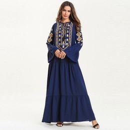 Ladies Clothes Plus Australia - Elegant ladies plus size 4XL Clothing women flare sleeve o neck geometric embroidery casual loose blue muslim maxi dress female robes