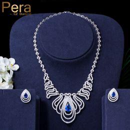 $enCountryForm.capitalKeyWord Australia - Pera Unique Big Statement Royal Jewelry Set Big Water Cut Cubic Zirconia Blue Choker Necklace And Earring For Women Wedding J079