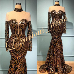one sleeve prom dresses sparkly Australia - Gold Sequin Mermaid Prom Dresses 2019 Sparkly Real Sample High Neck Sheer Top Africa Black Girl Long Sleeve Evening Dresses Prom Gowns