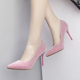 Banquet Shoes Australia - Fairy2019 High Super 9cm Evening Show Pink Fine With Sexy Thin Shallow Mouth Banquet Work Sharp Single Shoe