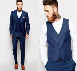 slim fit gray suit 2019 - Custom Made Groom Tuxedos Groomsmen Dark Blue Vent Slim Suits Fit Best Man Suit Wedding Men Suits Bridegroom Groom Wear