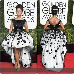 $enCountryForm.capitalKeyWord Australia - Short Front Ball Gown Prom Party Dresses Black and White Sequins hand Made Appliques Golden Globe Sexy Janelle Monae Cocktail Pageant Dress