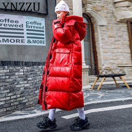 Women Winter coats extra long online shopping - YNZZU Chic Extra Long Oversized Women Parkas Winter Hooded Waterproof Thicken Warm Female Bio Down Jacket Puffer Coat A1416