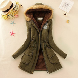 Wholesale military green white clothing for sale – custom S XL new Winter Womens Parka Casual Outwear Military Hooded Coat Winter Jacket Women Fur Coats Woman Clothes manteau femme Y190919